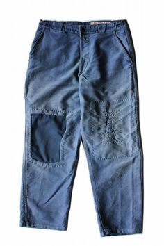French vintage patched moleskine work pants with hand-stitched repair/France 1950s/faded navy blue/patchwork/291