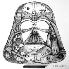 The Star Wars Universe in Darth Vader's helmet - created by O'lee Graphiste