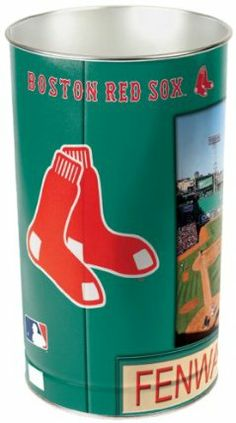 """MLB Boston Red Sox Wastebasket by WinCraft. $19.99. Great for Home, Dorm or Office. 15 inches tall by 10.5 inches in diameter. Durable, heavy-gauge metal. Made in the USA. Officially licensed wastebasket. These metal wastebaskets are a great way to decorate a room or office. Wastebaskets are 15"""" tall by 10.25"""" diameter and are tapered for easier storage. Made in USA.. Lithographed team graphics wrapped around tapered can."""