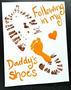 Here's the cutest Father's Day gift idea from their kids! It makes a wonderful keepsake and daddy will LOVE it! Once you are done and the paint is dry, frame it. Supplies Needed: Orange and brown paint (we used acrylic but must use fast!) Daddy's shoe Paintbrush White card stock paper Baby feet Grab dad's …