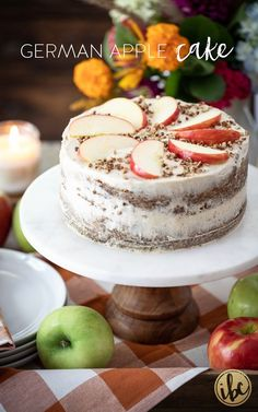 Delicious German Apple Cake Recipe #germanapplecake #applecake #fallbaking #cake #fall #cinnamon #recipe #dessert Fall Dessert Recipes, Apple Cake Recipes, Fall Desserts, Fall Recipes, Just Desserts, Sweet Recipes, Cinnamon Cream Cheese Frosting, Cinnamon Cream Cheeses, My Favorite Food