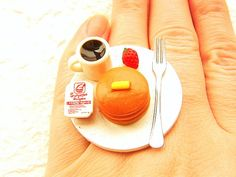 Miniature Food Ring Pancakes Coffee Cute Food by SouZouCreations, $12.50