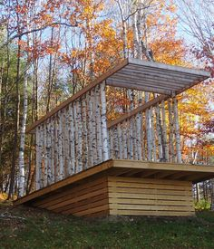 This pavilion was made by architecture students in a forest in Vermont, USA as a place for contemplation