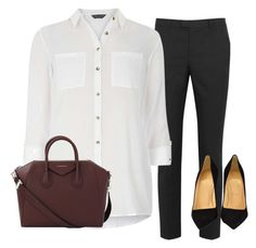Standard work outfit by teciane-rodrigues on Polyvore featuring moda, Dorothy Perkins, RED Valentino, Christian Louboutin and Givenchy