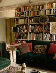 emerald sofa and chairs in his library in his French castle ~ David Hare design