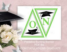 #Green CONGRATULATIONS GRADUATE #printable #party #garland by ArigigiPixel  Green #graduation garland is perfect for decorating the party of your most important day. You will be able to download printable PDF files.  The garland says #CONGRATULATIONS GRADUATE. ► The each pennant has grade cap image. The colors of pennants are white with green and gray outer line, black graduate cap and green letters.