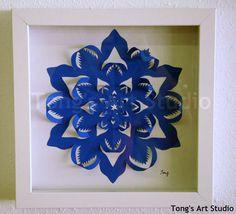 3D Blue Snowflake paper cutting Box by TongsArtStudio on Etsy, $29.00