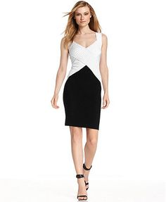 These bodycon most popular pencil dress is a refreshing office lady clothing. It is a JS vintage black & white v neck sleeveless splicing mini pencil dress. These flattering pencil dress features pure color, v collar and mini length. Womens Cocktail Dresses, Black N White, Calvin Klein Dress, Spring Summer Fashion, Cool Outfits, Cocktails, Dresses For Work, My Style, How To Wear