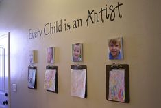 Such a great idea to display kid art you normally put on the fridge! Turn them into masterpieces on the wall.