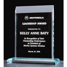 """Our Pinnacle Acrylic Award is made with 3/4"""" thick jade acrylic mounted on an acrylic base. This A5868 acrylic award is 8"""" x 9.5"""" in size & includes free engraving!"""