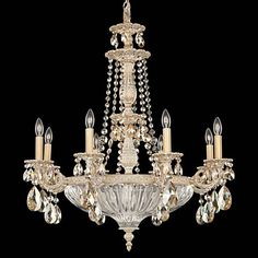 "Schonbek Milano 27"" Wide Parchment Gold Crystal Chandelier - #T6776 