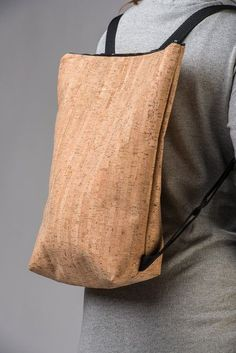 Backpacks – Cork backpack with zip – a unique product by lovecuts on DaWanda Backpack Pattern, Tote Backpack, Cork Fabric, Fabric Bags, Cork Purse, Back Bag, Wash Bags, Bag Sale, Tote Handbags