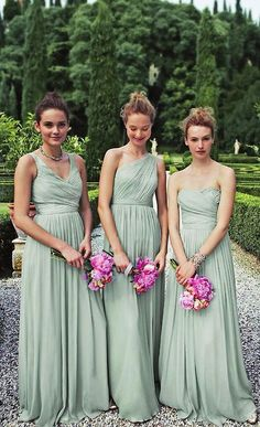 bridesmaids in elegant mint J. Crew gowns. Mint and fushia?