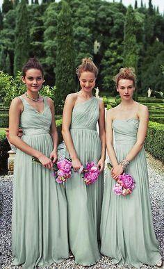 bridesmaids in elegant mint J. Crew gowns. Mint and fushia?