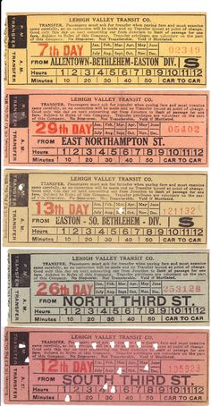 Streetcar transfers from Lehigh Valley (Allentown/Bethlehem/Easton, Pennsylvania) Transit Company (date unknown)