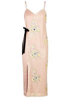 THREE FLOOR Slim Pin satin and sequinned dress - Harvey Nichols
