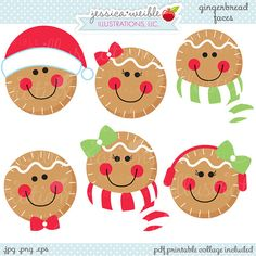 Pan de jengibre caras linda Navidad Digital por JWIllustrations