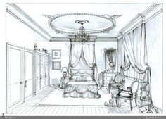 Architect Drawing, Chandelier, Study, Interiors, Ceiling Lights, Drawings, House, Furniture, Home Decor