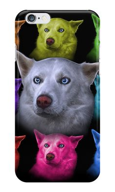 """""""White Siberian Husky - 2103 - BB"""" iPhone Cases & Skins by Rateitart 