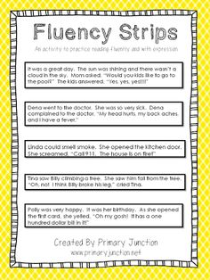 Fluency Strips - an activity to teach reading fluently and with expression - Freebie