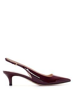 Zara Kitten Heel Synthetic Patent Leather Slingback Shoes, 49.90 http://www.refinery29.com/kitten-heels#slide7