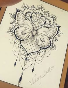 Skull Thigh Tattoos, Flower Thigh Tattoos, Sugar Skull Tattoos, Leg Tattoos, Body Art Tattoos, Butterfly Mandala Tattoo, Mandala Tattoo Design, 1 Tattoo, Tattoo Drawings