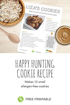 at the end of the Happy Hunting book Liza celebrates with here friends (and dog) with these yummy cookies / dairy-free, sugar-free, wheat-free, gluten-free, egg-free, soy-free and can be made nut-free if you substitute almond butter with tahini (seed) butter / zenteredkids.com Seed Butter, Almond Butter, Real Food Recipes, Cookie Recipes, Dairy Free, Gluten Free, Yummy Cookies, Tahini, Egg Free