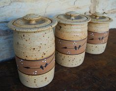 3 piece Canister set in Bake' Yellow by hardypottery on Etsy