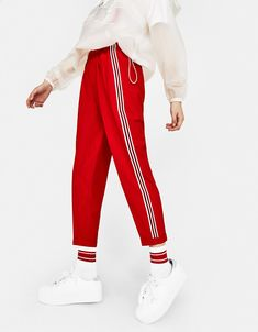 Jogging trousers with side stripe - Bershka #fashion #product #jogging #trousers #stripes #red #white #girl #girly #trend #trendy #outfit