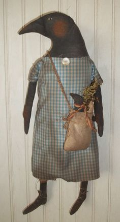 Primitive Grungy Mrs Crow Doll with Her Baby Crow & Egg