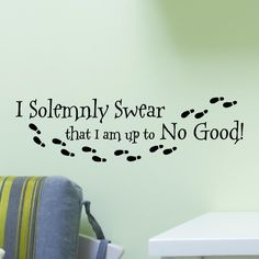 I Solemnly Swear I Am Up To No Good With Footprints Wall Decal Vinyl Sticker Quote Harry Potter by SpiffyDecals on Etsy
