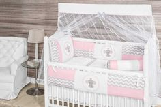 Elephant Themed Pink/Chevron Baby Girl 10pc Nursery Crib Bedding Set Embroidered