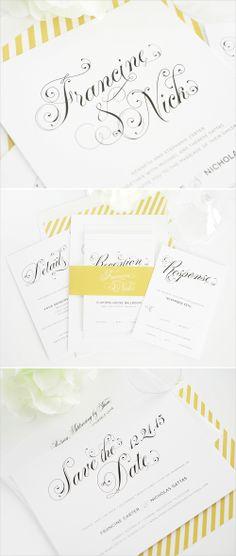 glamorous script wedding invitations #stationery #wedding #invitations #script #yellow #strips http://www.shineweddinginvitations.com/wedding-invitations/glamorous-script-wedding-invitation
