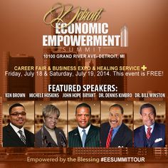 The countdown has begun! Come & transform your life! Join Ken Brown, Michele Hoskins, John Hope Bryant, Dr. Dennis Kimbro and Dr.Bill Winston at the Detroit Economic Empowerment Summit July 18 & 19, 2014 http://hub.am/1mlzluQ #EESummitTour