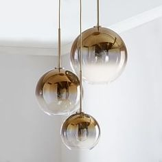 Sculptural Glass Round Globe, Chandelier, S-M-L Globe, Silver Ombre Shade, Bronze Canopy at West Elm Mobile Chandelier, 3 Light Chandelier, Globe Chandelier, Pendant Lighting, Chandelier Ideas, Globe Pendant, Ceiling Lighting, Modern Chandelier, Light Fixture