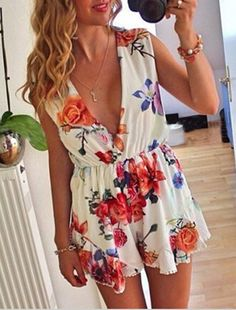 8e181319b40 2015 Celebrity Style Floral Print Jumpsuits Casual Dresses For Women