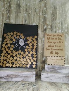 Guest Book Sun Moon and Stars guestbook Alternative Box Alternative Guest Book GuestBook Unique Wedding Guestbook Book Sun and Moon Theme by RIPTideEngraving on Etsy Source by idea Starry Night Wedding, Moon Wedding, Celestial Wedding, Star Wedding, Galaxy Wedding, Wedding Bells, Rustic Wedding Guest Book, Wedding Book, Wedding Souvenir