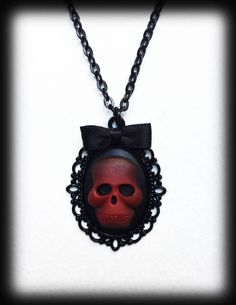 Gothic Skull Necklace, Victorian Steampunk Pendant, Red Skull Cameo, Alternative Jewelry, Gothic Gift, Gothic Jewelry, Handmade Necklace by WhisperToTheMoon on Etsy