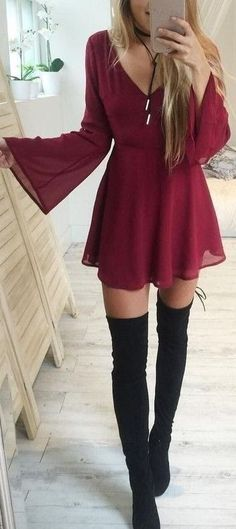 Wine dress over the knee boots http://wp.me/p8qGNK-mW