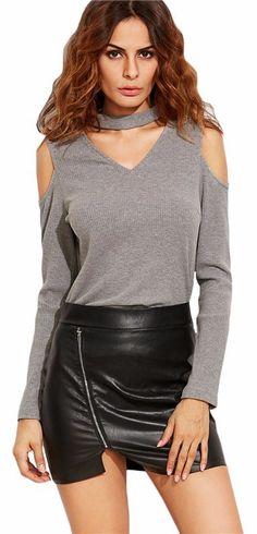Womens Cold Shoulder Chocker collar neck cut Long Sleeve t-shirt top