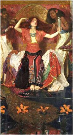 Jezebel by John Byam Shaw, ca. 1896, a vivid depiction of total self-absorption.