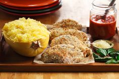 """Chicken Parmigiana with Spaghetti Squash 
