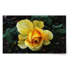 Yellow Rose in Nature Rectangular Sticker - craft supplies diy custom design supply special