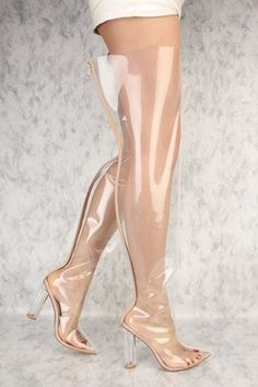 Transparent Flared Pointy Toe Clear Chunky Heel Thigh High Boots Patent *Kim K Inspired* High Heel Boots, High Heels, Sexy Boots, Sexy Heels, Rubber Shoes Outfit, Clear Shoes, Boots Store, Outfits, Heels