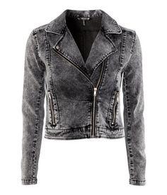Short biker jacket in hard-washed stretch denim <3
