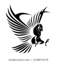 Find Flying Owl, spread out its feather. Great owl on white background stock vectors and royalty free photos in HD. of new pictures added daily. Free Vector Art, Vector Graphics, Buho Logo, Eagle Drawing, Eagle Emblems, Tribal Symbols, Owl Logo, Eagle Art, Eagle Tattoos