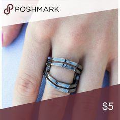 NWT gunmetal ring stretch back adjustable Brand new in original packaging. All items are lead and nickel free. Bundle to save and remember to follow me. I have hundreds of items. Jewelry Rings
