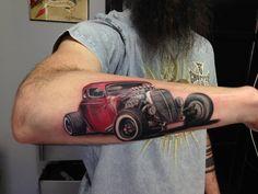 Car Tattoo By Ivan Limited Availability at New testament tattoo studio Lettrage Chicano, Chicano Art Tattoos, Pop Art Tattoos, Flame Tattoos, Car Tattoos, Forarm Tattoos, Tattoos Skull, Tattoos For Guys, Tattos