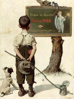 """Time To Re-tire - Boy And Dog"" by Norman Rockwell Canvas Wall Art - Canvas Wall Decor Norman Rockwell Prints, Norman Rockwell Paintings, Edouard Hopper, Jack Russell, The Saturdays, Caricatures, American Artists, Vintage Children, Mail Art"