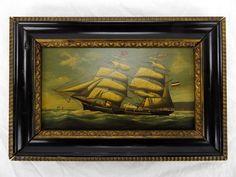 """Salvatore Colacicco Original Oil on Board Painting """"Asante"""" Clipper Ship"""